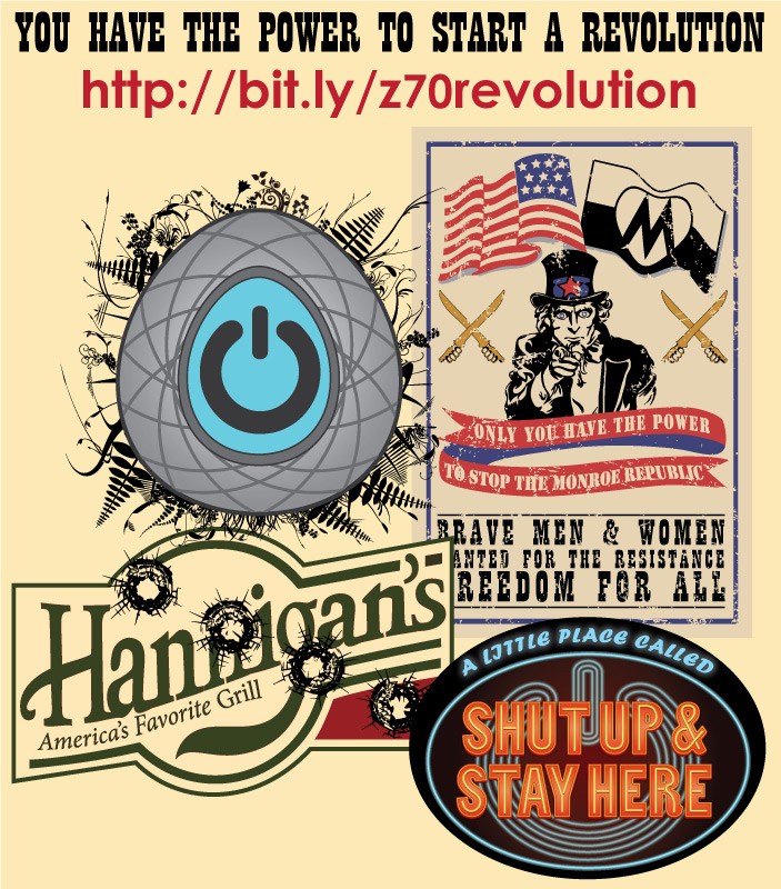 Some designs from the TV show revolution available to purchase on Cafepress under their official licence
