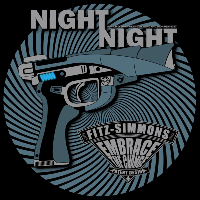 Agents of S.H.E.I.L.D. Fitz and Simmons Night Night Gun t-shirt design