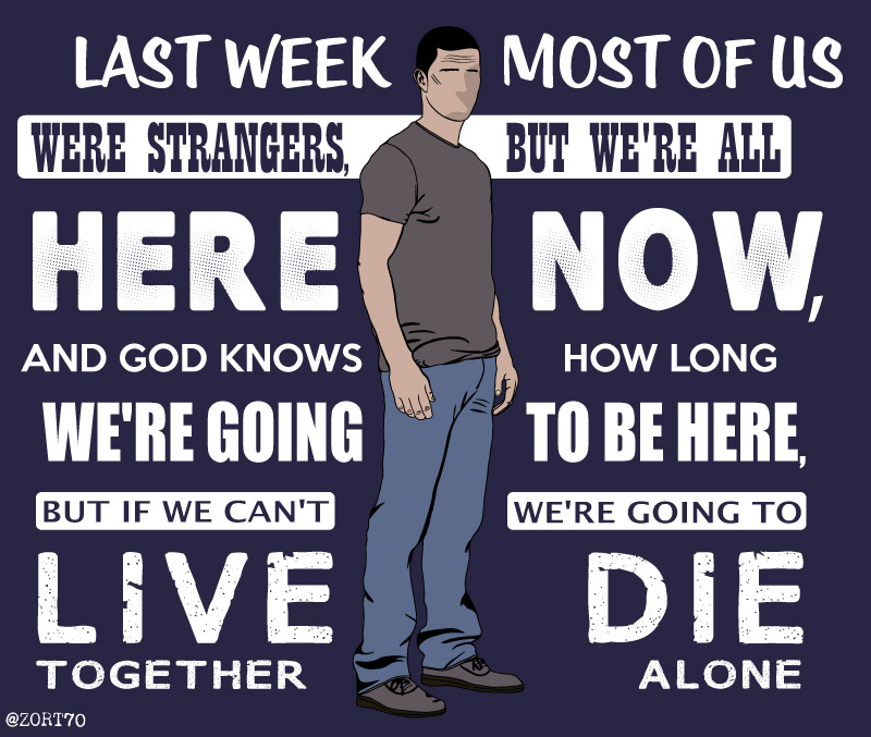 LOST Jack Live together die alone quote tshirt
